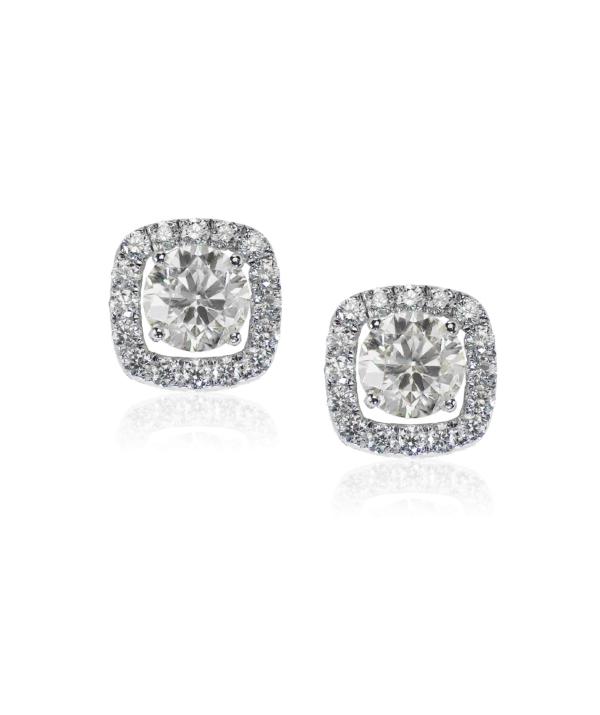 Diamond-Stud-Halo-Earrings